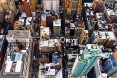 New York City Street (Gobo Fraggle) Tags: newyorkcity cityscape manhattan unitedstatesofamerica midtown empirestatebuilding newyorkstate canonef1740mmf4lusm photoshopelements tiltshifteffect canoneos7d adobelightroom4 20121010to10305thanniversaryustrip