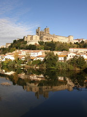 Bziers Reflected (Annie in Beziers) Tags: autumn france water river cathedral saintnazaire faubourg walkingthedog lorb bzierslanguedocherault annieinbziers