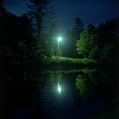 (patrickjoust) Tags: new trees light england usa reflection 120 6x6 tlr film water lamp night analog rolleiflex zeiss rural america dark square lens town us reflex pond focus long exposure vermont fuji mechanical united small release tripod north patrick twin cable londonderry pro after medium format states manual 80 joust f28 vt rolleiflex28f planar estados 80mm fujicolor c41 unidos 400h 28f franke fujicolorpro400h autaut heidecke patrickjoust