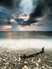 Stick & Shell (MOG'S) Tags: longexposure sunset cloud seascape beach rain malaysia seashell jeram selangor darkcloud woodenstick pantaijeram