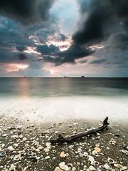 Stick & Shell (MOG'S) Tags: longexposure sunset cloud seascape beach rain malaysia seashell jeram selangor darkcloud woodenstick pantaijeram