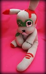 Zombie Sock Bunny (BirdGurl) Tags: bunny halloween monster dead toy toys monkey sock doll zombie emo goth creepy plush