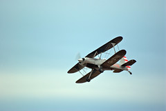 Biplane (Sandy Beach Cat) Tags: uk blue sky beach plane scotland pentax low propeller biplane lothian k10d
