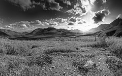 Divide the water (dieLeuchtturms) Tags: canada monochrome america yukon northamerica bild amerika blackdiamond stiched kanada dempsterhighway nordamerika tombstonemountains yukonunorganized northfolkpass