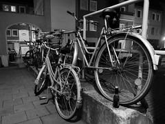 Bicycles (marcel601) Tags: life street city urban white black bike bicycle night germany dark deutschland thringen nacht thuringen jena thuringia east stadt fahrrad fahrrder ostdeutschland stadtleben strase jenensis