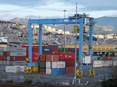 Rubber Tyred Gantry Crane (stevenbrandist) Tags: blue red italy yellow italia crane genoa genova containers rtg containerterminal sech rubbertyredgantrycrane southerneuropeancontainerhub