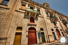 Colour in Malta (Think James Photo) Tags: door blue red sky house brick green home yellow stone architecture restaurant harbor sand beige balcony cream malta hdr highdynamicrange hdri valetta