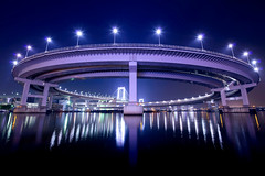 Radiant Loop (www.jasonarney.com) Tags: blue reflection water japan night port tokyo warf purple loop    tokyobay rainbowbridge  shibaura        elevatedexpressways