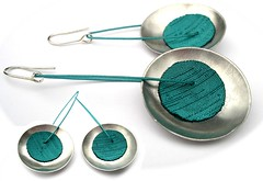 Angeles Flor thin platonic earrings in teal (Ans Designs) Tags: textilejewellery angelesflor aluminiumjewellery ansdesigns