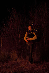 Firelit Piper (duncan_ireland) Tags: saint st community andrews day fireworks pipes andrew entertainment bonfire ceilidh standrews piper bagpipes inverness bagpipe strathnairn inverarnie