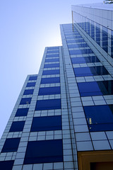 Blue Heat (Threthny) Tags: blue sky building tall upshot