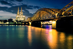 A Cologne Classic (_flowtation) Tags: longexposure bridge winter light sky reflection church water night reflections river lights nikon cathedral nacht dom kirche bluehour florian fluss rhine rhein lichter rhineriver klnerdom blauestunde spiegelungen hohenzollernbrcke hohenzollernbridge leist flowtation cathedralkln nikon2470mm nikon247028 nikon2470mmf28 d7000 nikond7000 cathedralcolone pwpartlycloudy florianleist florianleistphotography florianleistfotografie flowtationde florianleistde