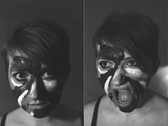 MIXED EMOTIONS (maxwell.arnold) Tags: lighting portrait woman girl portraits canon studio lights ginger eyes diptych acrylic tank lashes eyelashes faces expression top makeup anger headshot calm lips camo portraiture tanktop emotional mad emotions tones tone straps brastrap strobes mixedemotions paintedface vsco vscofilm vscocam