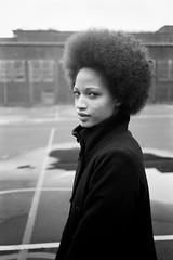 Portrait of Devan (Adam Garelick) Tags: city nyc newyorkcity portrait people blackandwhite woman fall film monochrome 35mm manhattan lowereastside 100 2012 leicam7 ilforddelta100 35316 ilfordilfosol3