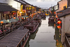 Suzhou, China (Richard Ellis Photography) Tags: suzhou china shantang street canal home house structure building boat barge boats terminal barges jinchangdistrict waterway water historic traditional unescoworldheritagesite destination jiangsuprovince architecture landmark eastasian culture scenic chinese people outdoors asian asia travel tourism suchow summer horizontal sunset evening lanterns crowds chn