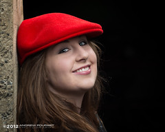 Chasing Away The Darkness (andy_57) Tags: red laura beauty smile hat daughter teen cap teenager lovely kangol d800 mep theattic mylittlegirl 105mmf2dc