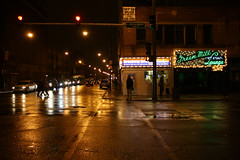 Jazz Tonight (Flint Foto Factory) Tags: city autumn winter urban chicago reflection bus green fall classic wet rain sign bulb club night vintage evening lawrence illinois neon december cta nocturnal cross traffic walk lounge north broadway jazz cocktail uptown pedestrians vocalist americana after intersection aroundtown greenmill 2012 aoife quintet chicagotransitauthority chicagoist odonovan davedouglas