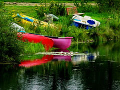 HBM!  Colourful summer lake reflections (peggyhr) Tags: peggyhr happybenchmonday canoes boats waterlilies lake reflections bench grass rocks green blue white yellow red pink dsc01375a bluebirdestates alberta canada thegalaxy super~sixbronzestage1