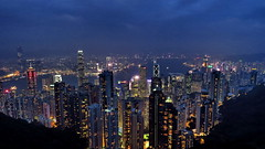 Hong Kong Iconic Outlook.. (Master Octa) Tags: canon powershot sx50 sx50hs canonpowershotsx50hs tower skyscraper highrise hirise building office hotel resort shoppes shop shoppingmall shopping mall skyline cbd downtown city cityscape vertical water waterfront bayfront night nightshot lowlight noflash lowexposure hk hkg hongkong china chinapr hongkongsar light color colour colorful colourful portrait victoriaharbor harbour victoriaharbour peak thepeak observationdeck deck platform skyterrace skyterrace428 peaktram horizon icon landmark landscape