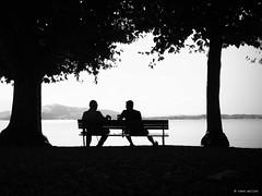 Generation Talk (Ren Mollet) Tags: zug zugersee street streetphotography silhouette talk man gesprch generation renmollet lake lakefront blackandwhite bw art pen f zuiko olympus