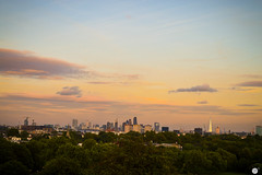 London / Sunset from Primerose Hill (Paol0) Tags: london uk sunset primerose hill city landscape panorama view nature skyline summer holidays sky park clouds buildings horizon nikon orange skycraper skyscrapers england britain explore sun regents beatiful amazing trees green downtown outdoor colourful garden happy shine light modern art travel