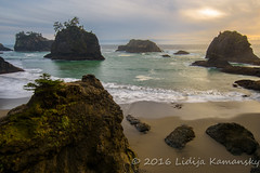 Secret Beach Sunset (Lidija Kamansky) Tags: beautyinnature blurredmotion clouds cloudy landscape nature oregon oregoncoast outdoors pacificcoast pacificnorthwest pacificocean scenics seastack seashore secretbeach sky sunset tranquilscene water waves