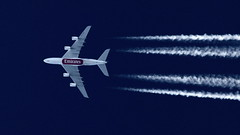 Emirates A380 in the cruise (deanhammersley) Tags: a6edz emirates a380 cruise flight contrail trails jet altitude 37000 feet 35000 height sky jettrails contrailling