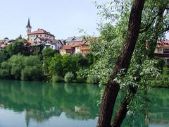 Novo Mesto, Slovenia - Krka River (johnnysenough) Tags: 41 novomesto krkariver republikaslovenija slovenia slovenije slovnie eslovenia slowenien europe eu yellow 100citiesx1trip travel snv34856 johnnysenoughhepburn