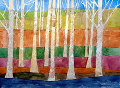 Trees, by hj - DSC04014-001 (Dona Mincia) Tags: art painting watercolor study paper tree nature abstract color stripes geometrical arte pintura aquarela natureza abstrato rvore listras faixas branch tronco galho