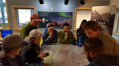 Getting our backcountry talk in the ranger station which included bear safety, Leave No Trace ethics for camping, and a few other topics