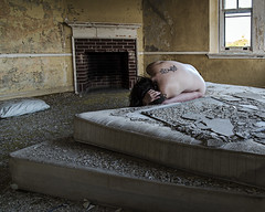 The Roots that Clutch (sadandbeautiful (Sarah)) Tags: me woman female self selfportrait abandoned resort mattress hotel poconos bed