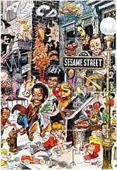 Sesame Street Poster by Jack Davis, 1970 (Tom Simpson) Tags: sesamestreet poster jackdavis 1970 1970s art illustration bigbird oscarthegrouch bert ernie muppets themuppets posterart mrhooper
