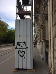 Panda heart (David Mery) Tags: animal france panda paris scaffold signs street