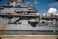 USS Hornet in Pearl Harbor, Honolulu, Hawaii  1950s (ElectroSpark) Tags: vintage photos slides hawaii military aircraftcarrier wwii koreanwar tiki hula girls