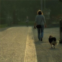 . (me*voil - on and off) Tags: woman dog dogwalker street pavement cobblestone nikcollection