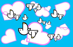 Birds & Hearts (joani.art) Tags: birds hearts birddesign flyingbirds heartdesign cartoonbirds blueandwhitebirds pinkandwhitehearts