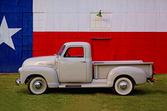 The National Truck of Texas! (Robert Holler Photography) Tags: favorite robertholler interesting chevy chevrolet 1949 1950 1951 1952 pickup 3100 half ton texas flag barn colorful color vivid bright