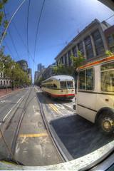 Market Street (kyle.tucker95) Tags: sanfrancisco california bus canon downtown trolley muni marketstreet streetcar hdr fline pcc photomatix sanfranciscomunicipalrailway eos7d presidentsconferencecommittee