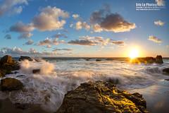splash (Eric 5D Mark III) Tags: ocean california sunset sky usa cloud seascape beach water rock canon landscape photography gold golden power unitedstates action sigma wave fisheye orangecounty splash lagunabeach ericlo heislerpark spoondrift sigma15mmf28exdgfisheye eos5dmarkiii 5d3 15exdg