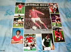 Manchester United FC.- George Best, Life of a Legend from Northern Ireland. (mrvisk) Tags: old irish history football soccer star red white green european champion belfast memory memorial beard shirt strip squad team man utd sport groupshot mrvisk 1960s 1970s ulster people outdoor facial hair proud boots san jose earthquakes hibs skill professional