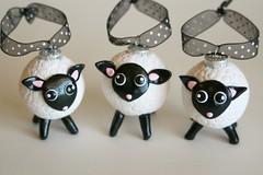 lambs (SpiritMama) Tags: christmas white holiday black silly cute fun sheep little sweet ornament ornaments round kawaii lamb lambs whimsical spiritmama