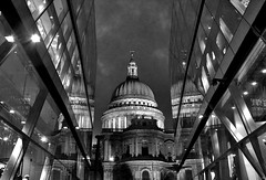 The Cathedrals of Past and Present (Vide Cor Meum Images) Tags: city bw london up reflections shopping square mono angle cathedral religion wide stpauls symmetry mile cheapside hs20 markcoleman hs20exr mac010665yahoocouk westfileld videcormeumimages