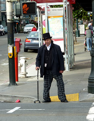 SUNDAY BEST (Lulu Vision) Tags: sanfrancisco street city people man fashion cane downtown candid dressedup tophat polkstreet urbansf stphotographia