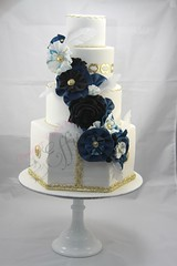 Haute Couture Wedding Cake (Designer Cakes By Effie) Tags: flowers blue wedding black cake gold feathers fabric fondant cachous caketress