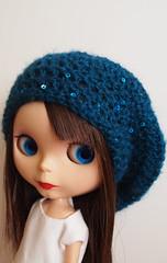 Blue beanie (hello jenny) Tags: diy rainbow doll dolls crochet hats blythe beanie beret slouchy helloburaisu
