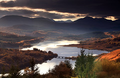 Skotland (angus clyne) Tags: road bridge autumn light sea cloud mountain lake holiday mountains tree look forest point landscape fire drive see scotland boat photo highlands haze view angus path walk smoke deep scottish calm glen hills workshop shore valley loch larch spruce tutorial garry distant clyne skotland