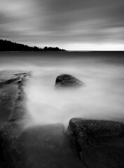 May (- David Olsson -) Tags: longexposure blackandwhite bw lake seascape nature water monochrome clouds landscape mono nikon rocks cloudy sweden tripod may sigma cliffs le grayscale 1020mm 1020 vnern 2012 dx hammar vrmland smoothwater smoothsky d5000 ndflter takene scenicsnotjustlandscapes davidolsson hammarsydspets nd500 lightcraftworkshop lakscape
