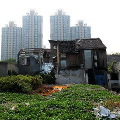 watched by sentinels (whistle.and.run) Tags: china urban plants green abandoned overgrown skyscraper square town construction asia apartments fuji apartment skyscrapers shanghai flat chinese demolition flats oldhouse shanty derelict slum x10 apartmentblocks chinesehouse blockofflats collapsedroof chinesebuilding chineseconstruction partiallydemolished chineseapartments fujifilmx10