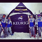 BC Boys prepare to forerun at Lake Louise World Cup - Thanks Van Houtte & Keurig! (L to R = Roger Carry, JP Daigneault, Brodie Seger, Blake Ramsden)