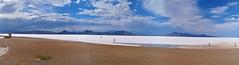 HDR of Bonneville Salt Flats (trins) Tags: blue sky people woman cloud brown white mountains reflection men kids rocks dress salt panoramic hills jpeg hdr bonnevillesaltflats
